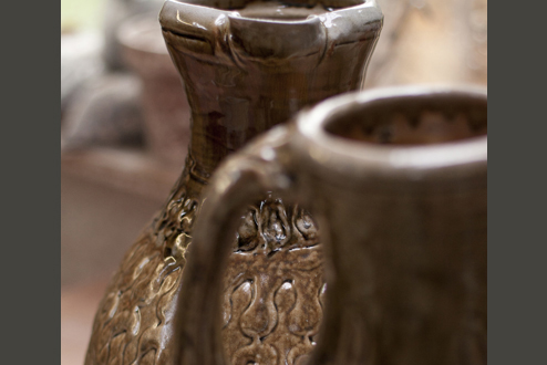 Large jugs, thrown in three parts. Wood-fired salt-glaze