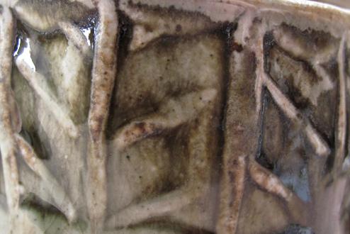 Espresso mug detail, green ash-glaze herringbone roulette