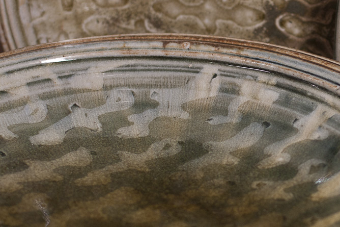 Large plate detail, latex resist ash-glazed