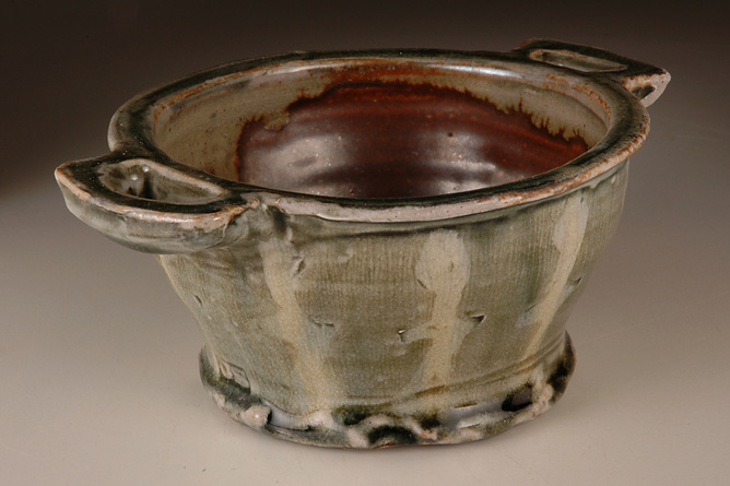Green soup bowl, wood-fired salt-glaze