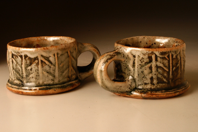 Espresso mugs, rouletted, ash-glazed