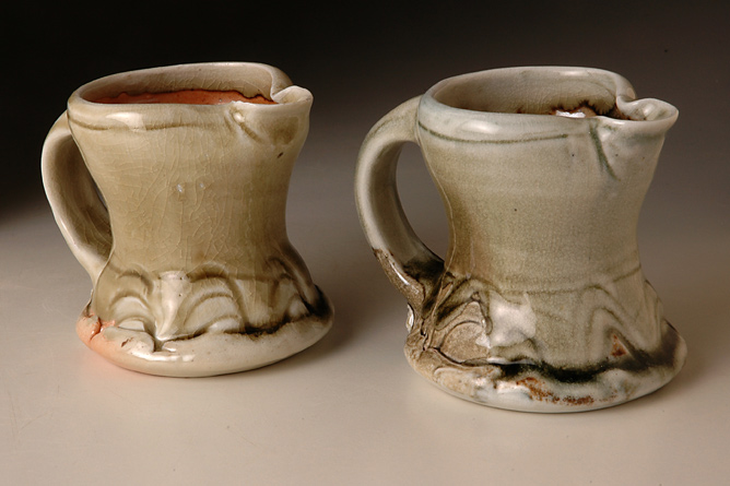 Porcelain creamers. Wood-fired salt-glaze