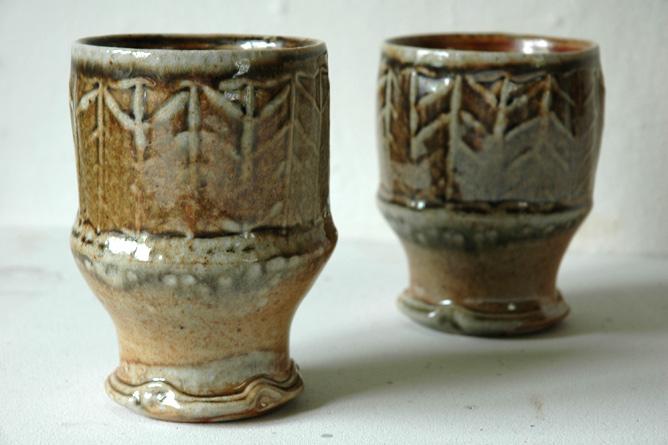 Beakers, herringbone roulette, wood-fired salt-glaze