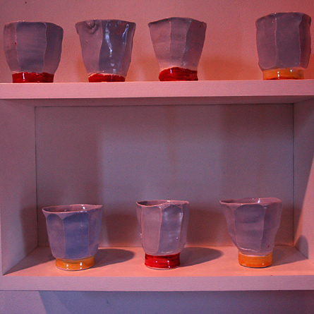 Tea bowls, porcelain blue, red and yellow, by Josh Redman
