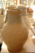 Large unfired jug rouletted decoration