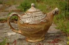 Tea pot, wood-fired salt-glaze by Penelope Rudge