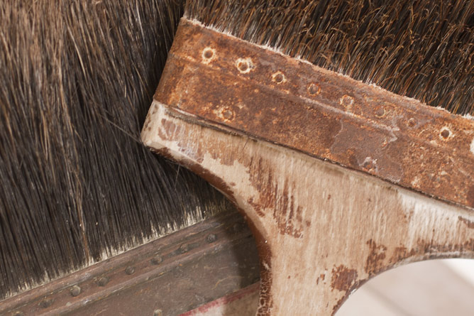 Salt glaze slip brushes detail