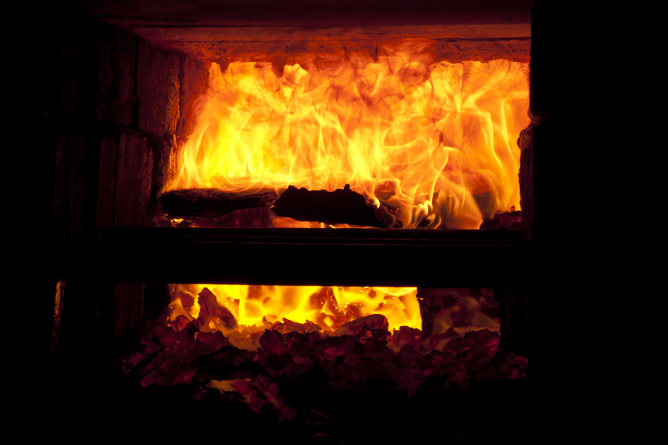 Sodium wood combusts and volatilizes in firebox