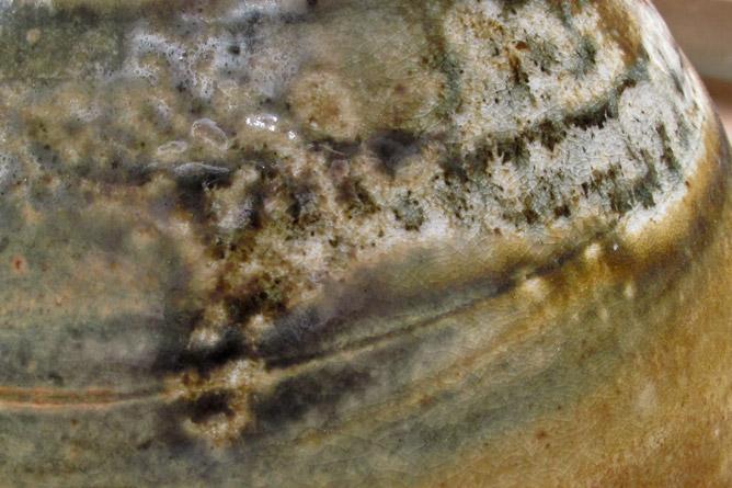Salt-glazed pot, orange-peel detail