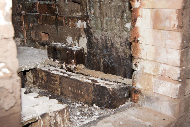 Kiln repairs, salt builds up on bricks