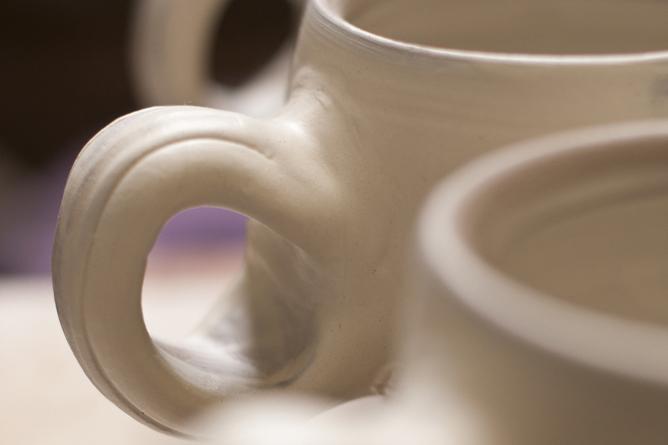 Mug handle detail, slipped and awating salt-firing