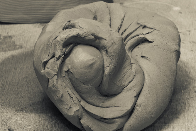 Stoneware clay preparation, spiral hand wedging