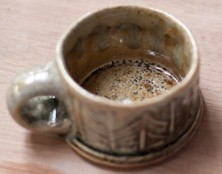 Espresso cup, herringbone rouletter. Wood-fired salt-glaze