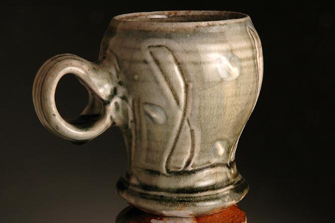 Large round green mug, ash-glazed