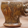 Large round mug, green. Wood-fired salt-glaze