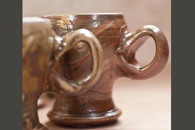 Large round mugs, wood-fired salt-glaze