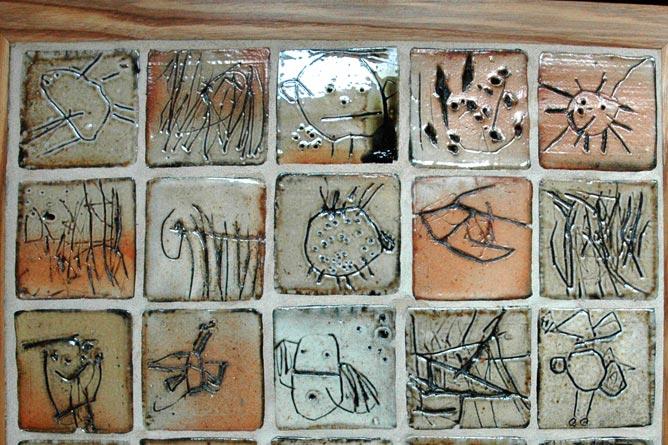 Tile panel, decorated by nursery school children