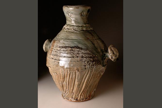 Large bottle. Wood-fired salt-glaze