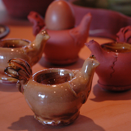 Egg cups, earthenware by Patia Davis