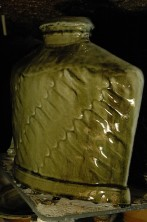 Ash-glazed bottle, wood-fired salt-glaze
