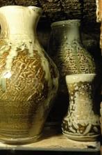 Wood-fired salt-kiln pots fired before unpacking